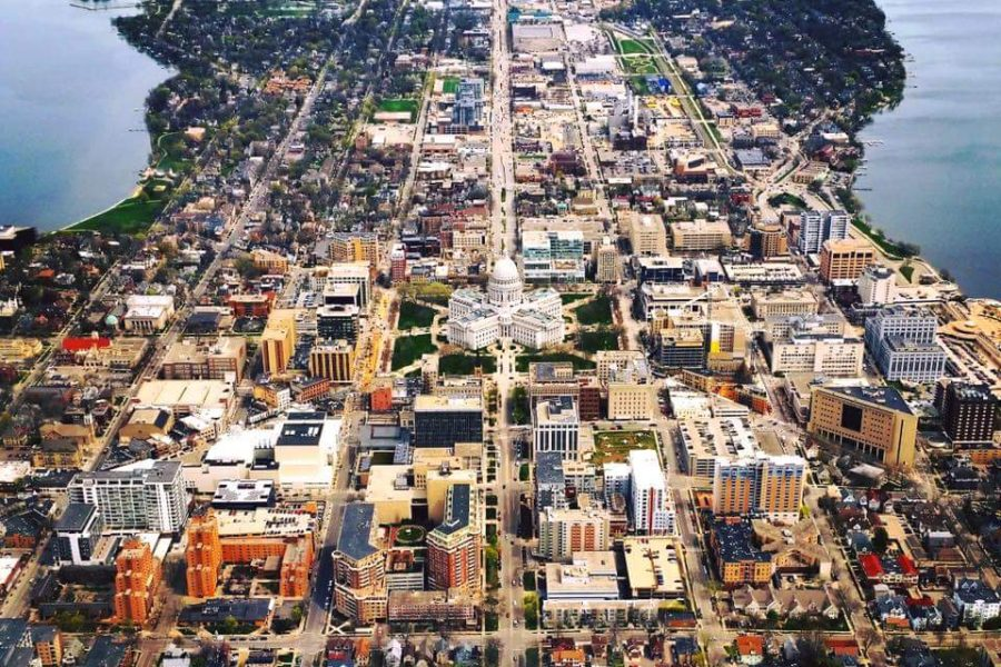 aerial view of UW-Madison